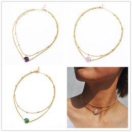 $enCountryForm.capitalKeyWord NZ - Fashion 4colors crystal 2 layer choker necklace gold color opal stone pendant necklace for women jewelry