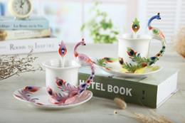 $enCountryForm.capitalKeyWord Canada - 1 Pcs Peacock Coffee Cup Ceramic Creative Mugs Bone China 3D Color Enamel Porcelain Cup with Saucer and Spoon Coffee Tea Sets