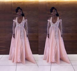 pictures african dress styles 2019 - 2017 Hot African Black Girl Pink Prom Dress Lace Off Shoulder Appliques Scoop A-Line Style Long Sleeve Prom Dress Free S