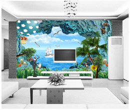 free shipping weave japan UK - 3D wall murals wallpaper custom picture mural wall 3D sea view fresh and beautiful living room wallpaper 3D Mural wallpaper Free shipping
