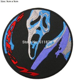 "$enCountryForm.capitalKeyWord UK - 3.5"" SCREAM Scary Movie Ghostface Knife LOGO PATCH Crest TV Movie Film series Halloween Cosplay Costume Embroidered applique party favour"