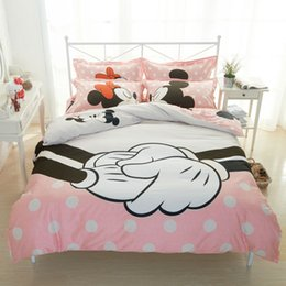 Great Mickey Bedding Set For Double Bed Cotton Bedclothes Minnie Mouse  Print Duvet Cover Setsfast Shipping Mickey Minnie Mouse Crib Bedding With  Minnie ...