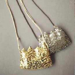 Wholesale New Fashion Baby Girls Bags Sequins Crown Kids Messenger Bag Cute Girl Mini Bag Children Shoulder Bags Gold Silver A6105
