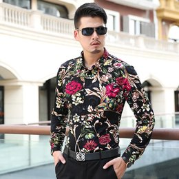 Barato 7xl Homens-Atacado- 2017 Men Luxury Brand Camisas Floral Shirts Men M- 6XL <b>7XL Mens</b> Casual Shirts Long Sleeve Camisa Social Masculina Chemise Homme