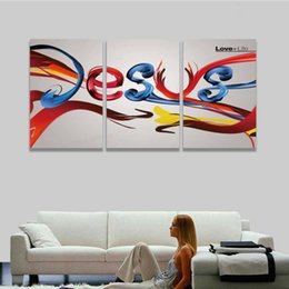 Painting Christ Canada - 3 Panel Canvas Wall Art Prints Abstract Colorful Christ Jesus Painting Artistic Picture for Home Decor Living Room Decorate Room