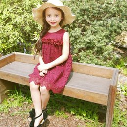 year old babies lace dresses NZ - 2017 Summer Baby Kids Girls's Lace Dress Bow Sundress Cotton Floral Printed Kids Girl's Dresses Solid Color for 3-8 Years Old