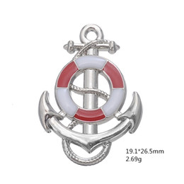 Nautical jewelry peNdaNt charms online shopping - Blue Pink Ship Wheel With Anchor Nautical Charm Pendant Fit Bracelet Making Men Jewelry For Maritime Explorer