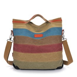 Tote Bags Compartments Canada - Canvas Bag Tote Striped Women Handbags Patchwork Women Shoulder Bag New Fashion Sac a Main Femme De Marque Casual Bolsos Mujer free shipping