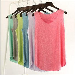 Single Pour Dames Pas Cher-12 Couleurs Casual Fitness Tank Tops Femmes sans manches Round Neck T-shirt en vrac Ladies Vest Singts Slim Yoga T-shirts Femme Vêtements