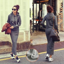 Corps Noir À Manches Longues Pas Cher-Hot Fashion Autumn Fall Winter Femmes Black Grey Sweater Dress Fleeced Hoodies Long Sleeved Slim Maxi Robes S M L XL Robe d'hiver