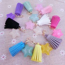 Mode Candy Farbe Quaste Anhänger Harz Stern Charms mit Karabinerverschluss für Handy Frauen Handtasche Mini DIY Schmuckzubehör hängen
