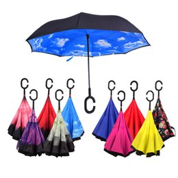 plastics car UK - Windproof Reverse Folding Double Layer Inverted Umbrella Self Stand Inside Out Rain Protection C Hook Hands For Car LLFA