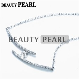 sterling silver link chain wholesale NZ - Necklace Blank for Pearls Mounting Two Lines Zircon 925 Sterling Silver Link Chain Base 5 Pieces