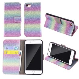 Discount rainbow iphone - Fashion Rainbow Gradient Bling Glitter Wallet Card Stand PU Leather Case for for iphone X 8 7 6 6S Plus Samsung S7 S8 S9