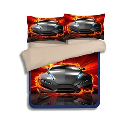 Gemelos Baratos-Cool 3D Red Sports Juego de sábanas para niños Boy Children Women Flat Bed Sheet Funda de almohada Funda nórdica Conjunto Twin Queen King Size Ropa de cama