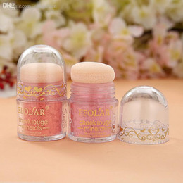 Puffs De Polvos Profesionales De Marca Baratos-Wholesale-2015 Professional Hot Brand Fashion Beauty Makeup Cosmético Blush Lovely Mushroom BB Blusher Powder Palette con soplo