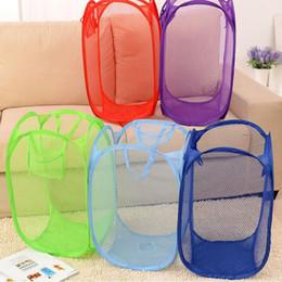 Foldable Pop Up Laundry Basket Canada - New Mesh Laundry basket Storage Foldable Pop Up Washing Dirty Clothes Nylon Laundry Basket Bag Toy Tidy Levert