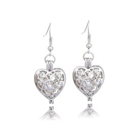 $enCountryForm.capitalKeyWord UK - Fashion Silver Tone Love Heart Pearl Cage Pendant Earrings Fine Hollow Locket Oyster Pearl Jewelry For Women Valentine'S Day Gifts
