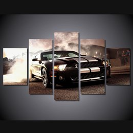 Discount free car posters - 5 Pcs Set Framed HD Printed Speed car Painting Canvas Print room decor print poster picture canvas Free shipping ny-2720