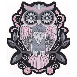 bikers back patches NZ - Fashion Night Owl PINK BACK EMBROIDERED Flight Suit PATCH MOTORCYCLE BIKER PATCH IRON ON VEST JACKET Bird of Minerva Badge Free Shipping