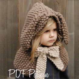 Knit bunny hat online shopping - Girls Tippet Cute Bunny with Bow Kids Knitting Cappa Baby Girl Winter Hat with Rabbit Ears Bowknot Children Adorable Cloak Gray