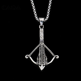 Bow Chain Necklace Canada - New fashion hot sale mens 316 stainless steel Bow Arrow Necklace pendant good quality cool Charm Jewelry for men CAGF0092
