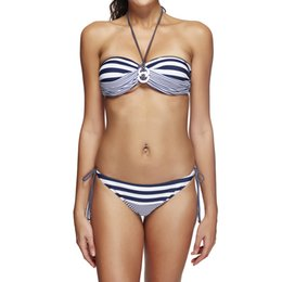 Barato Bikini Marinha Listrado-2017 Women Navy Striped Print Push Up Bandeau Triangle Bikinis Sets Swimwear Swimsuit Brazilian BeachWear Banquete S M-3XL