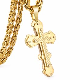 China New Arrival Jesus Cross Pendant Necklace Stainless Steel Men Jewelry Byzantine Link Chain Poplular Christian Colar Sliver Gold Color suppliers