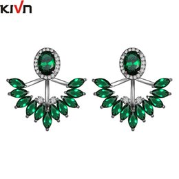 Cz Earring Jackets Canada - KIVN Fashion Jewelry Pave CZ Cubic Zirconia Bridal Wedding Earring Ear Jackets for Women Mothers Day Birthday Christmas Gifts