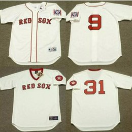 05d3d19be ... throwback jersey Mens Boston Red Sox 9 TED WILLIAMS 15 GEORGE SCOTT 31  FERGUSON JENKINS 46 BOB STANLEY .