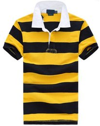 China Hot Sale Fashion Small Horse Casual Polo Shirts men embroidery Perry polo shirt camisa Striped polos masculina S-XXL Yellow suppliers