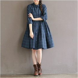 Robes En Gros En Vrac Pas Cher-Vente en gros - 2016 New Spring Autumn Casual Loose Waist Plaid Dress Coton Taille Plus S-2XL Vêtements Femme Mori Girl Robe Princesse Princesse Robe