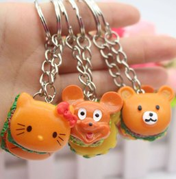 $enCountryForm.capitalKeyWord Canada - Korea cute simulation food biscuits Mickey little bear KT Cat cartoon key buckle gift pendant wholesale