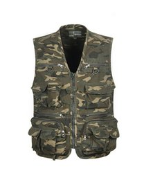 Barato Cole Homens Ao Ar Livre-Multi Pocket Cotton Mens Vest For Outdoor Hunting Waistcoat Fly Fishing Vest Summer Casaco sem mangas Camouflage Plus Size 3XL 4XL