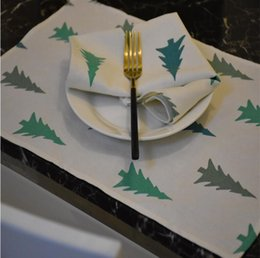 $enCountryForm.capitalKeyWord Canada - White Modern Pine Pattern Placemats for Kitchen Indoor Hotel ,Washable Non-slip Heat Insulation Table Mats Cotton Linen Fabric