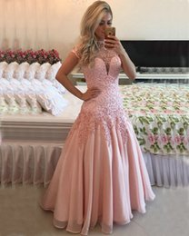 Short Red Lace Prom Vintage Dress Australia - European Style Hot Sale Vintage Short Sleeve Prom Dresses 2017 Pink Sheer Neck Lace Appliqued Sequins Beaded Open Back Evening Gowns OXL1501