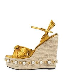 $enCountryForm.capitalKeyWord Canada - Weave Straw Pearls Wedge Sandals Women Shoes High paltform Oen toe Criss cross Sexy t show Party Pumps Genuine leather Brand Ladies Sandals