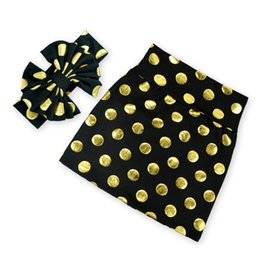 Mini Jupe Pas Cher-Métalliques Jupes Filles Gold Dots Set de vêtements pour bébés Summer Girls Party Jupes Bow Headband Set Adolescents Anniversaire 8T Jupe