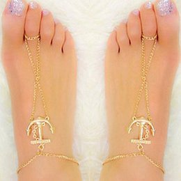 Anklet Toe Chain Australia - Gold Anchor Charm Anklet Chain For Women Fashion Summer Beach Barefoot Toe Chain Jewelry For Women Gift Drop Shipping
