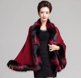 Wholesale wool shawl collar sweater resale online - Faux Fox Fur Mixed color Poncho Coat Autumn Winter thick Women s Long Cardigan Fake Raccoon Fur Collar trim Cashmere Sweater Shawl Knitted