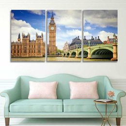 $enCountryForm.capitalKeyWord NZ - 3 Panel Set Printed Modern Canvas Wall Art London Big Ben Painting Cityscape Picture for Home Decor Living Room Bedroom Artwork