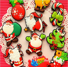 Discount silver chain designs for man - New Hot Selling Silicone Santa Claus Tree Socks Snowman Keychains Keyrings for Christmas Gifts Design Key Chain Kids Gif