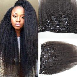 $enCountryForm.capitalKeyWord Canada - 7pcs set 100% Mongolian Human Remy kinky straight Clip ins natural color 12-26inch virgin human hair extensions G-EASY