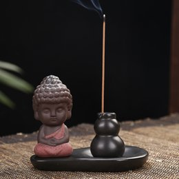 Brass censer online shopping - Backflow Incensory Buddha Purple Sand Censer For Arts And Crafts Gift Living Room Decor Incense Burner Holder cy C R