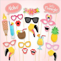 Palo Labial Baratos-2017 Nueva Lindo Photo Booth Atrezzo Fiesta Máscara Pineapple Glassess Lip On A Stick Summer Carnival Party Supplies