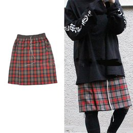 Men S Skirts Canada - Latest JUSTIN BIEBER FOG FEAR OF GOD Scotland plaid Men shorts skirts hiphop Fashion Casual culottes Kanye West S-XL