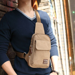 Barato Peito Quente-Hot 2017 New Casual Men's Chest Bag Canvas Sling Bag Multifuncional Small Male Crossbody Bags Moda Shoulder Bags