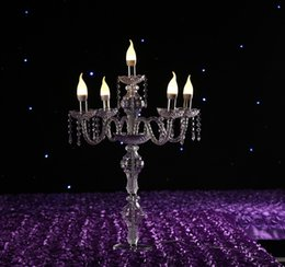 Chinese  New design 81cm height Acrylic 5-arms LED crystal lamp road lead Candlestick silver plated candle holder centerpiece manufacturers