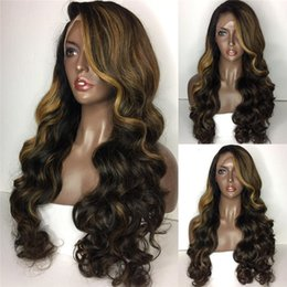 $enCountryForm.capitalKeyWord Canada - Highlight Lace Wig 100% Virgin Remy Hair Loose Wave Hot Sale Two Tone Lace Front Wig Free Shipping