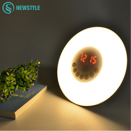 Wholesale  Novelty LED Alarm Clock Light With Digital Radio Bedroom Night  Light Sunrise Wake Up LED Light Free Shipping